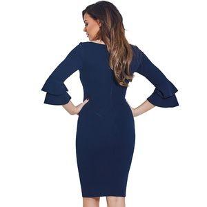 zzie Navy Ruffle Sleeve Bodycon Dress